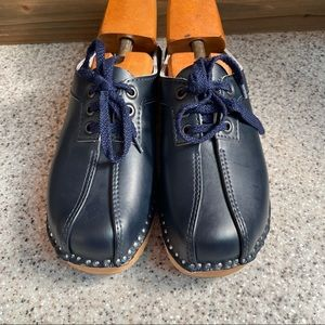 Troentorps Blue Leather Swedish Wooden Heel Clogs